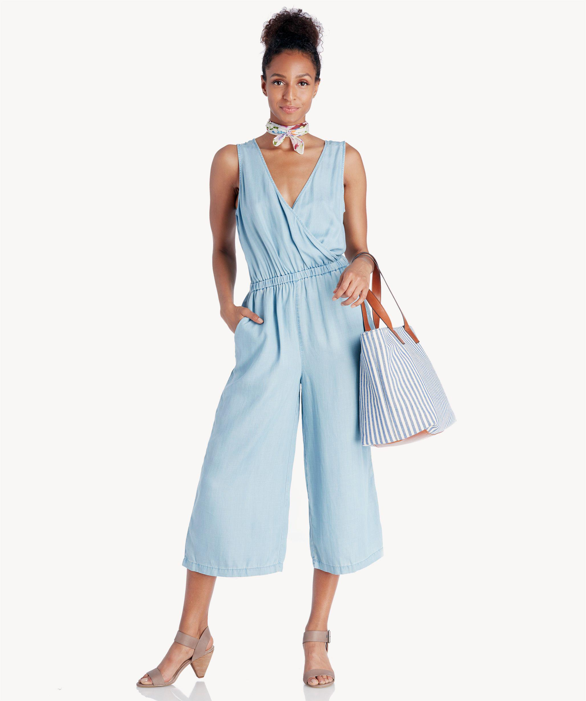c346f99e323f Lyst - Two By Vince Camuto Wrap Top Tencel Cropped Jumpsuit in Blue