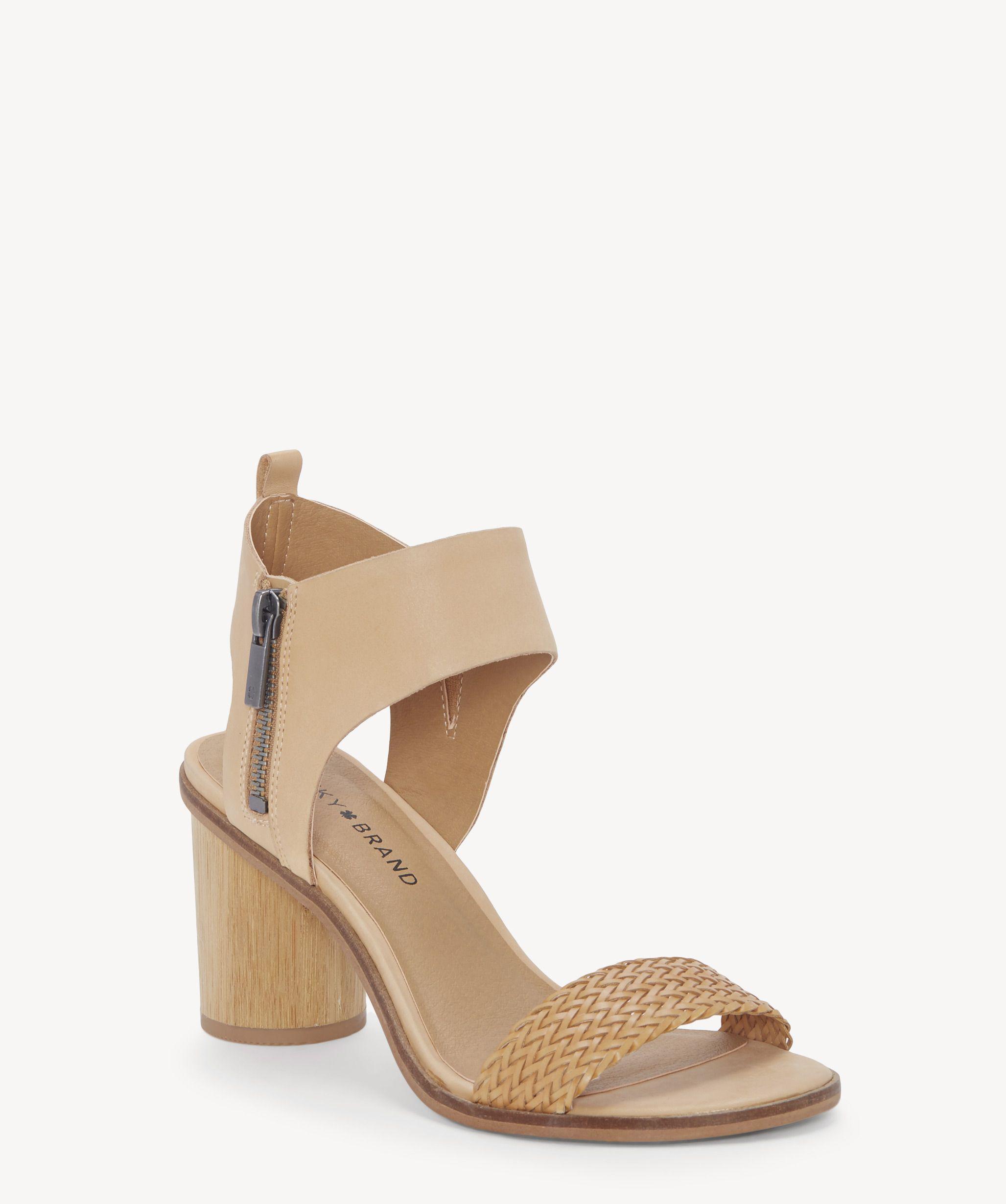 Lucky Brand Pomee Textile Leather Block Heel Dress Sandals nQHlTTd