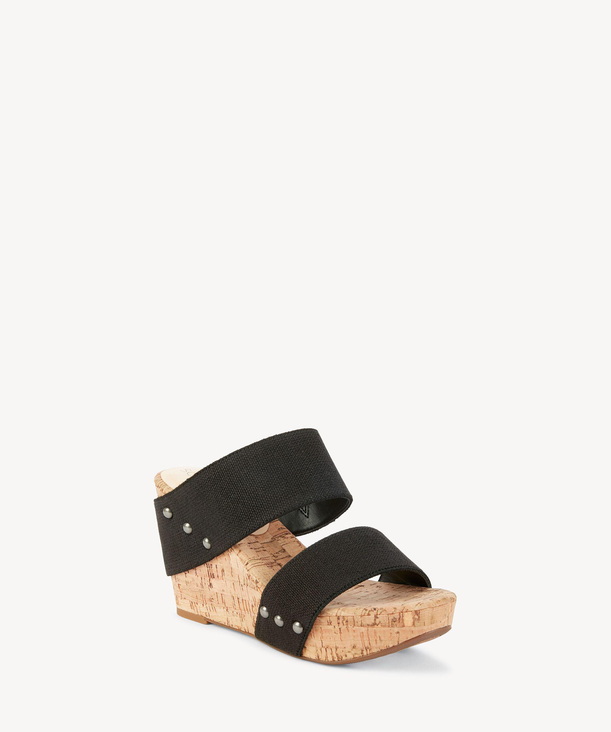04af86382dd9 Sole Society Emilia Platform Wedge Sandal in Black - Lyst