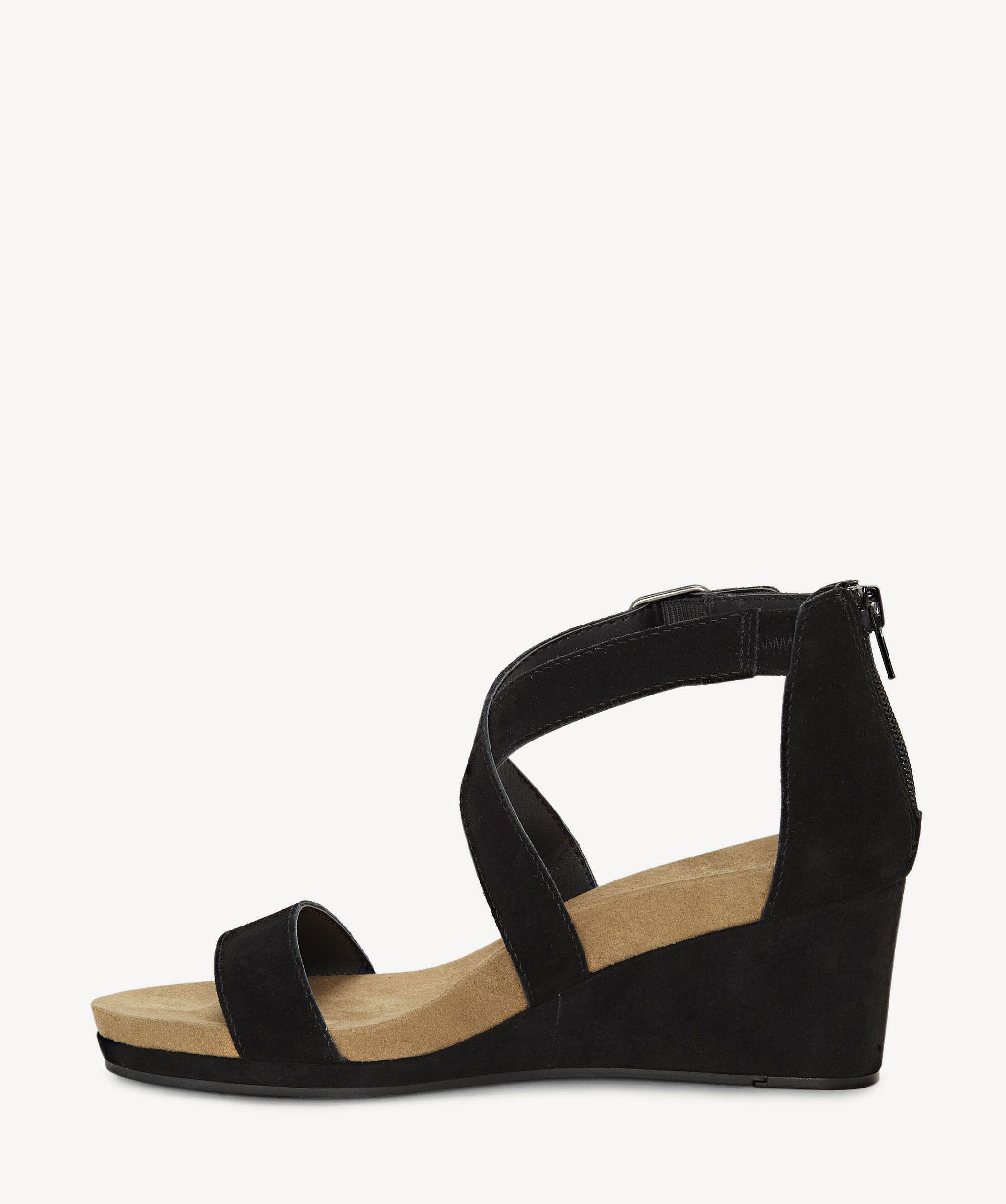 6929f2445397 Lyst - Lucky Brand Kenadee Criss Cross Wedge in Black
