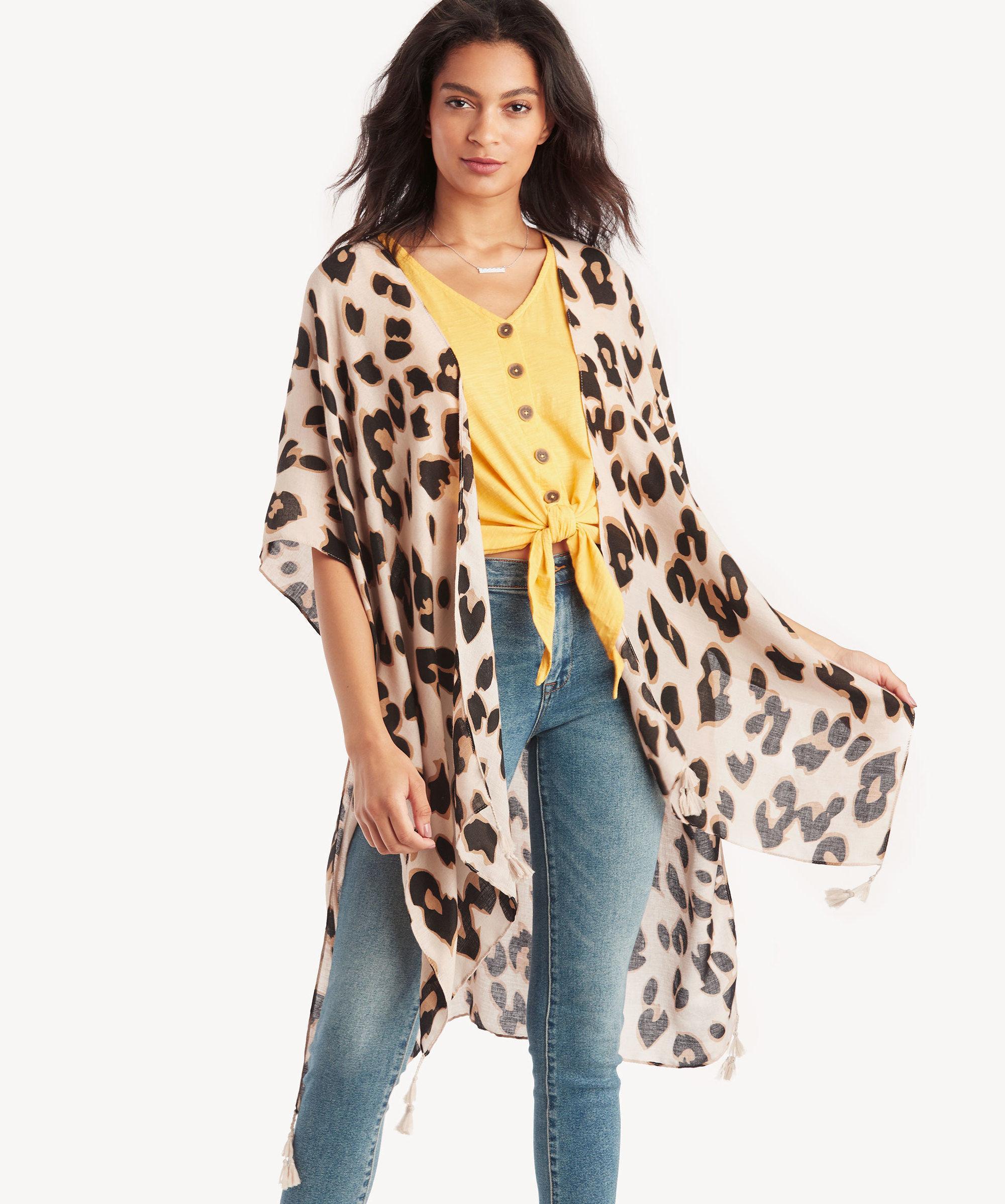 9acef6ab0091 ... Leopard Printed Kimono - Lyst. View fullscreen