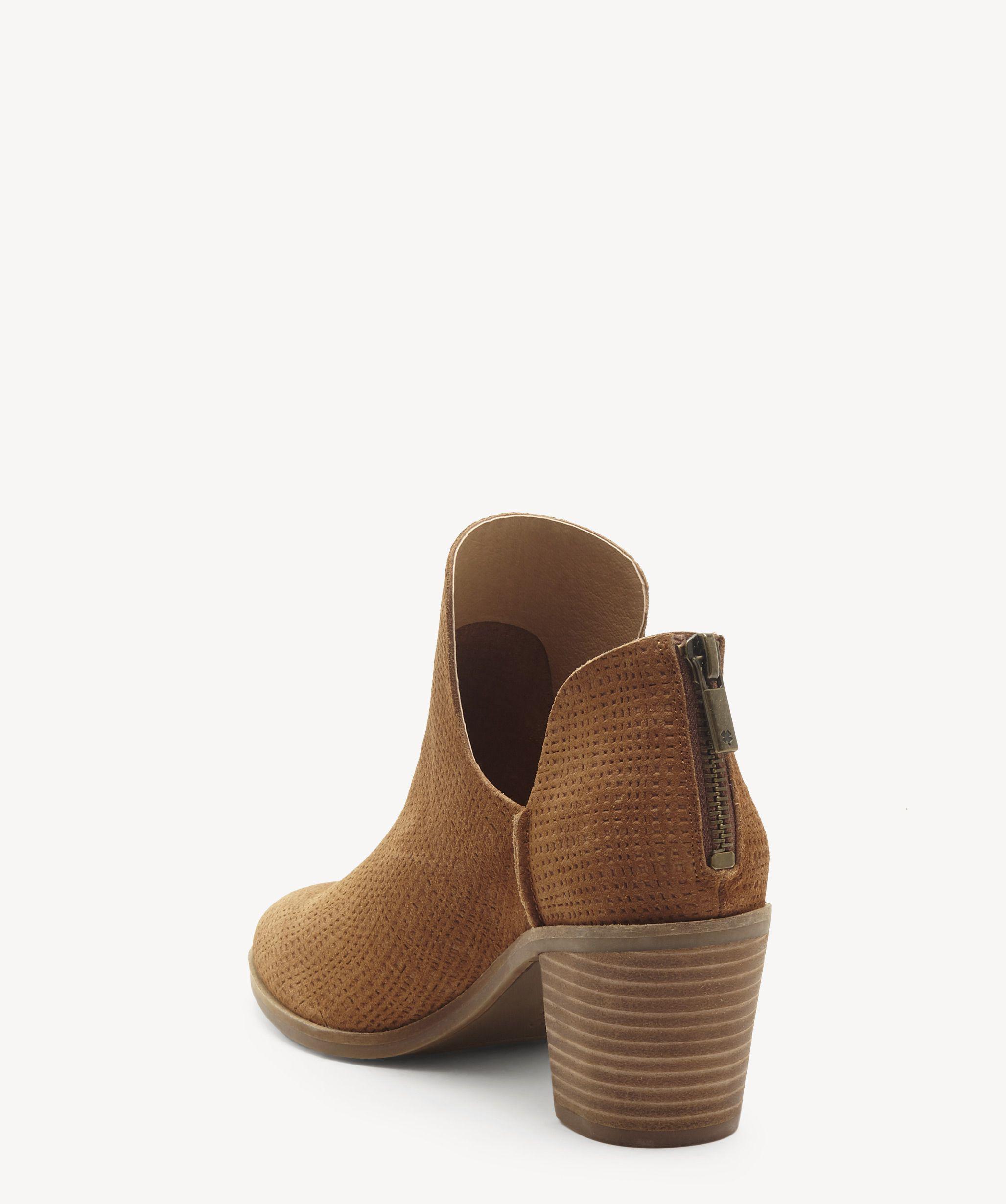Lucky Brand Women/'s Powe Raisin Suede Block Heel Leather Cut Out Side Bootie