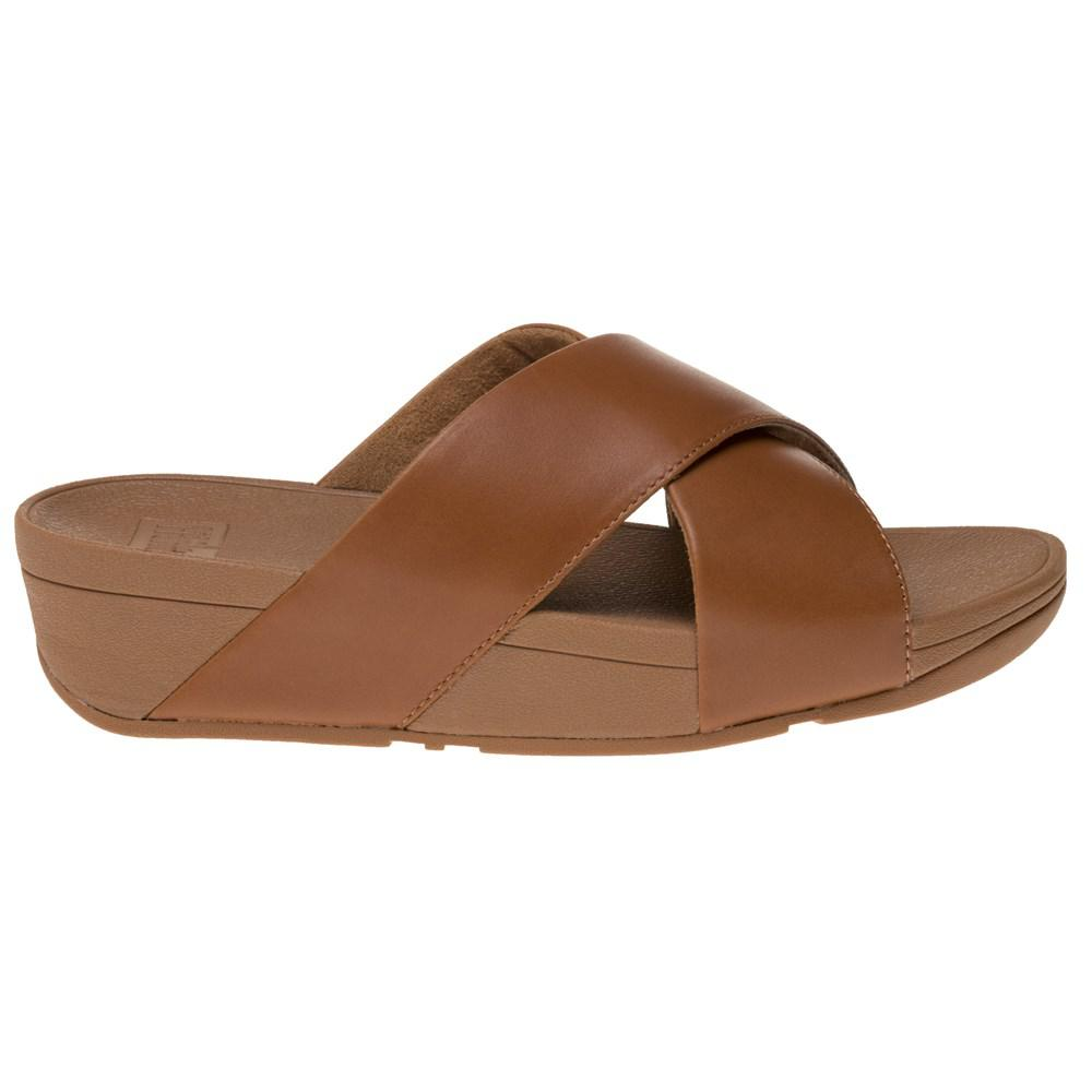 a460abefbacbc Fitflop Lulutm Cross Slide Sandals in Brown - Lyst