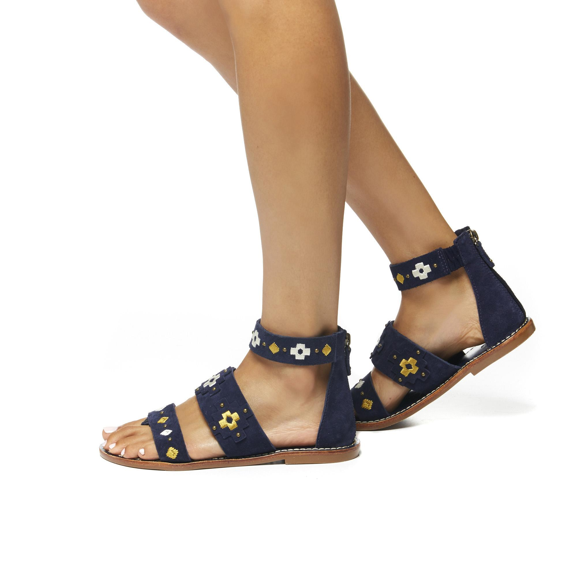 2eefa8f1581 Soludos Embroidered Three Banded Sandal in Blue - Lyst