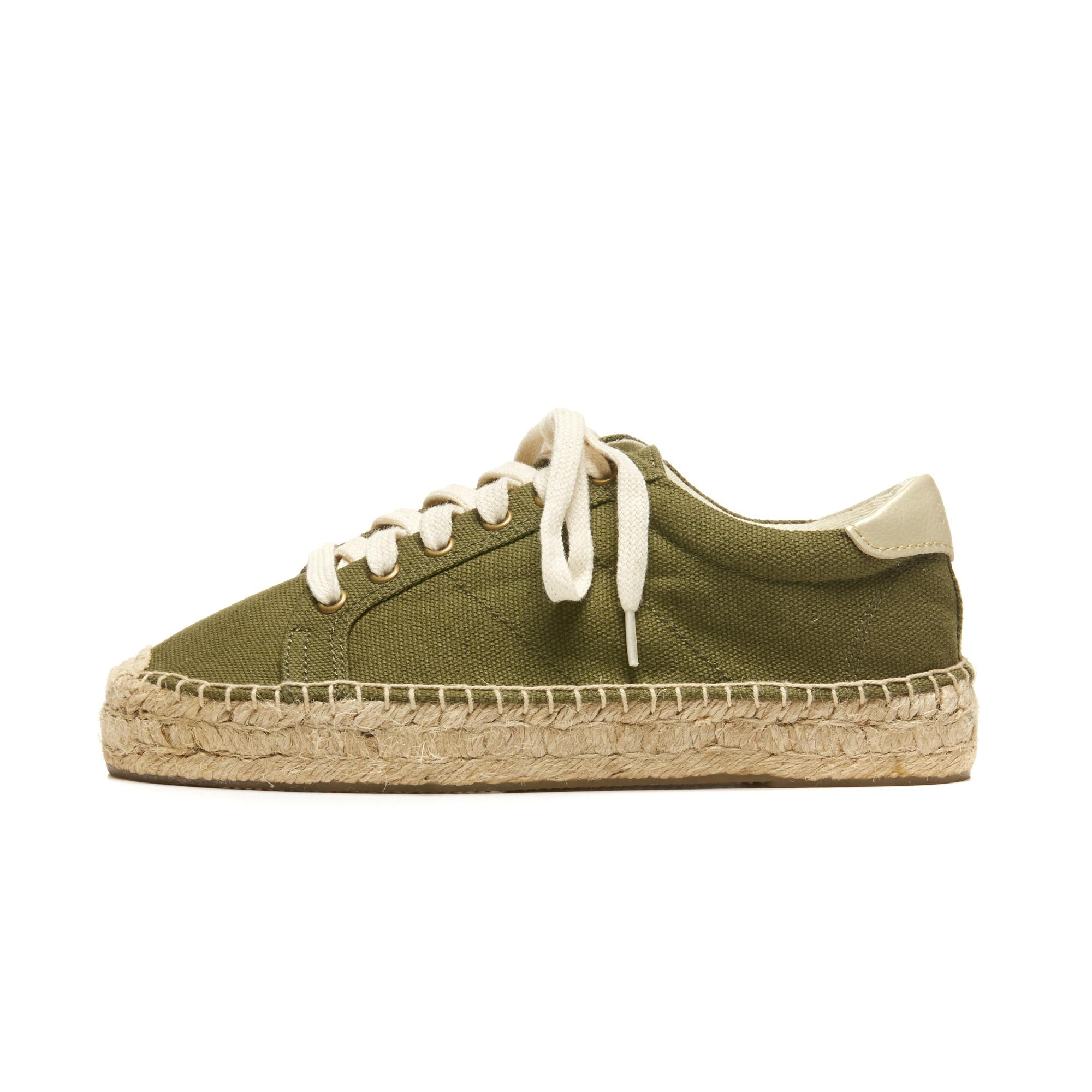 Soludos Canvas Platform Sneaker in Camo Army Green (Green)