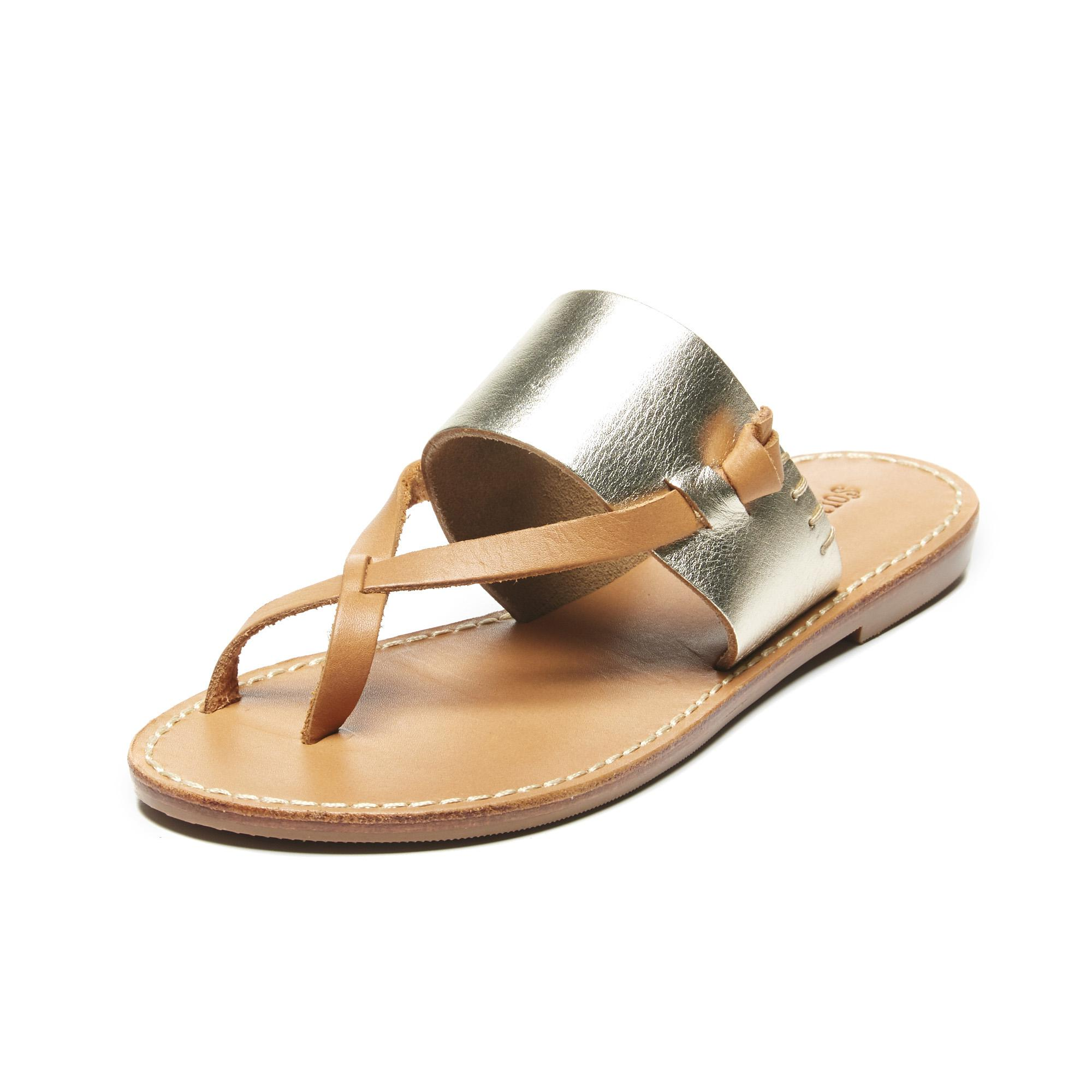 05935353fbce Lyst - Soludos Metallic Leather Slotted Thong Sandal in Metallic