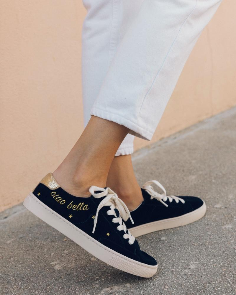 aec9fddd3402 Lyst - Soludos Velvet Ciao Bella Ibiza Sneaker in Blue