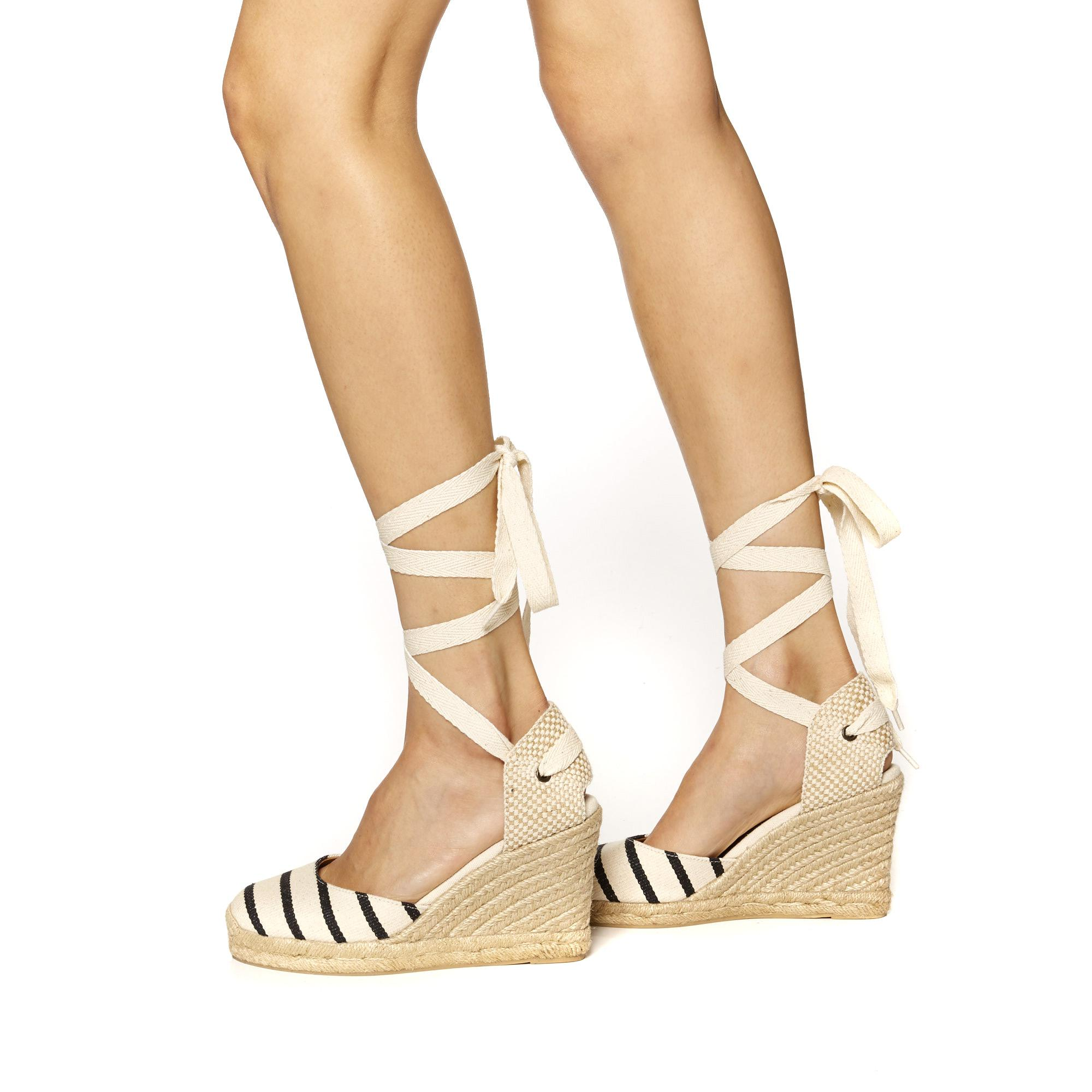Striped Tall Wedge Soludos