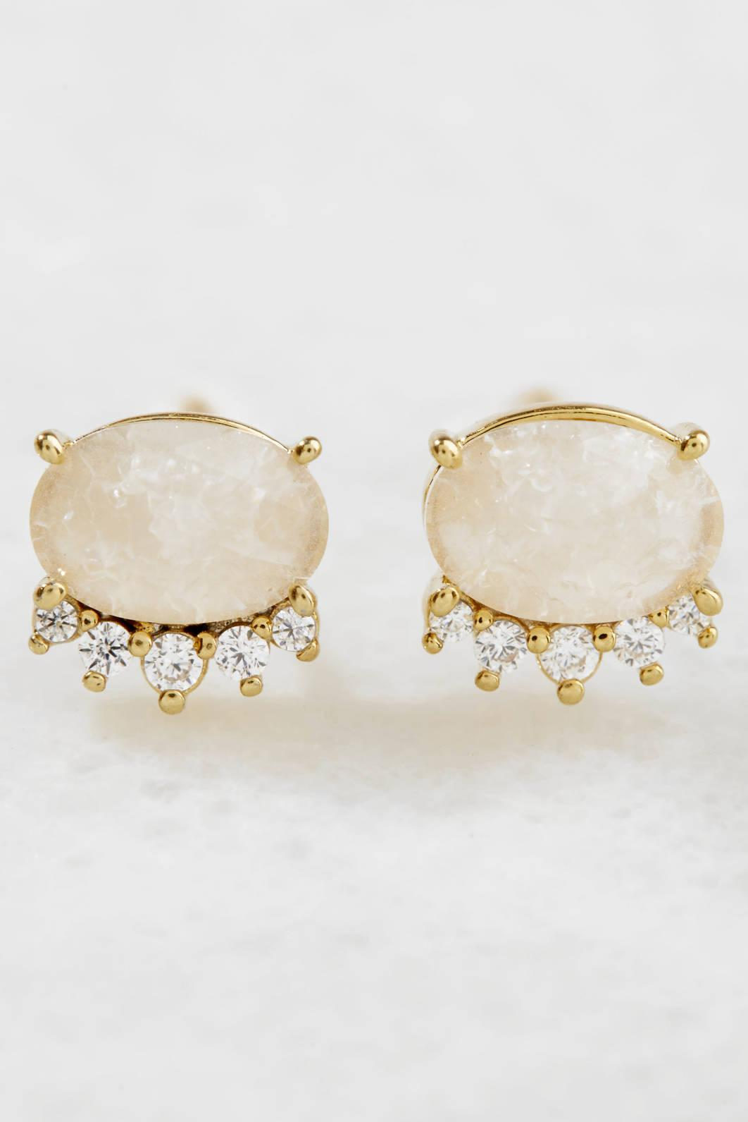 Tai Jewelry Oval Moonstone With CZ Stud Gold 3QcUEJ9Ik