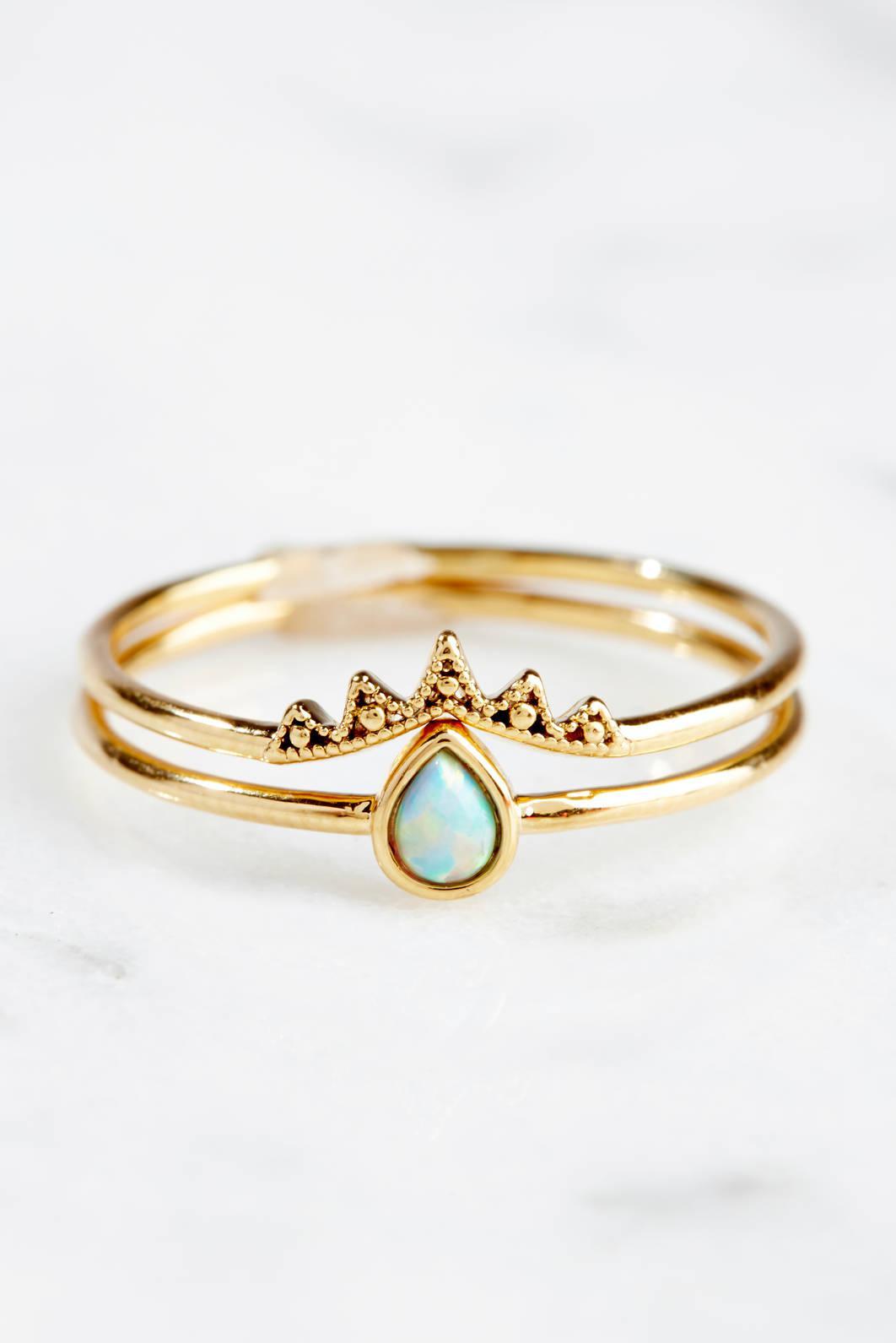 Tai Jewelry 2 Stackable Opal Teardrop Rings Blue 7 zkuVmDZ
