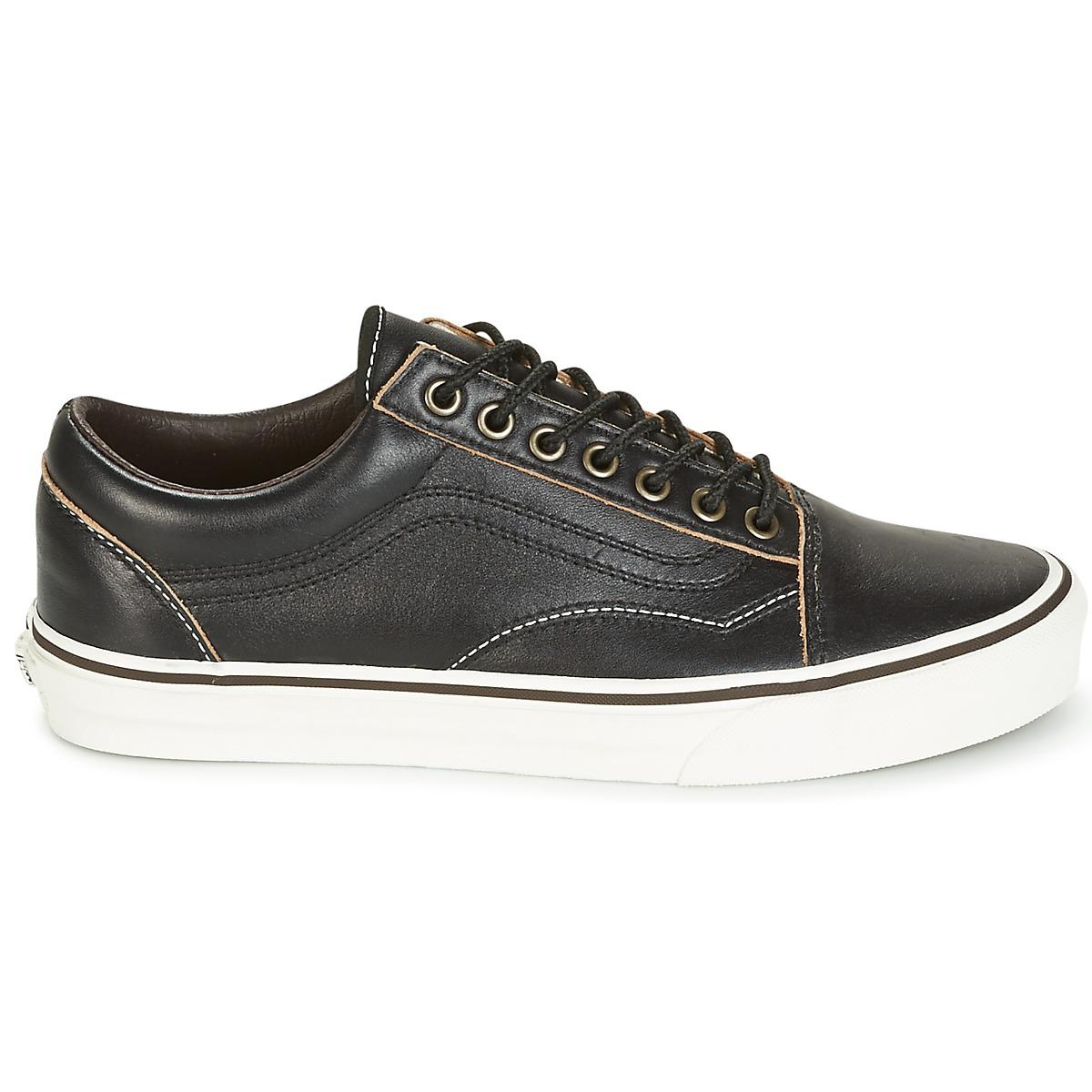 Vans Leather Old Skool Men's Shoes (trainers) In Black for Men