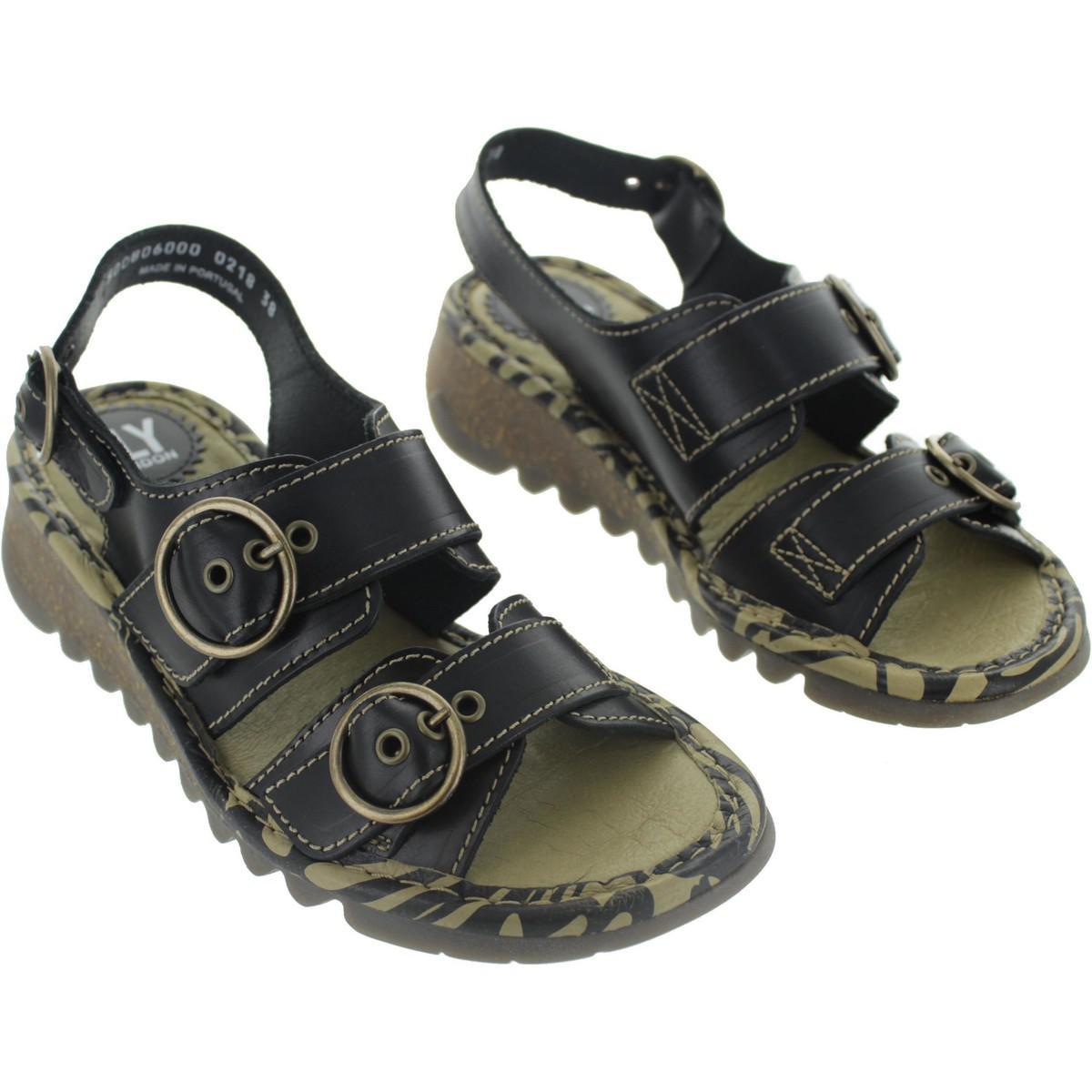 3252a856086de4 Fly London Tear Women s Sandals In Black in Black - Lyst