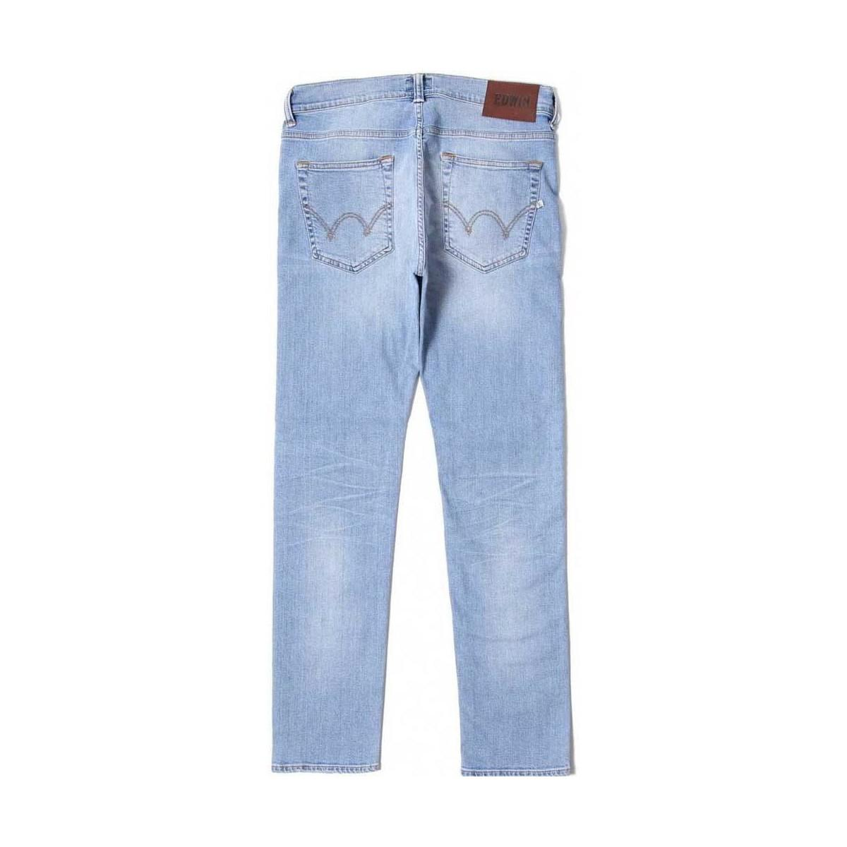 Edwin Denim Ed-80 Slim Tapered Light Trip Used Women's Jeans In Pink