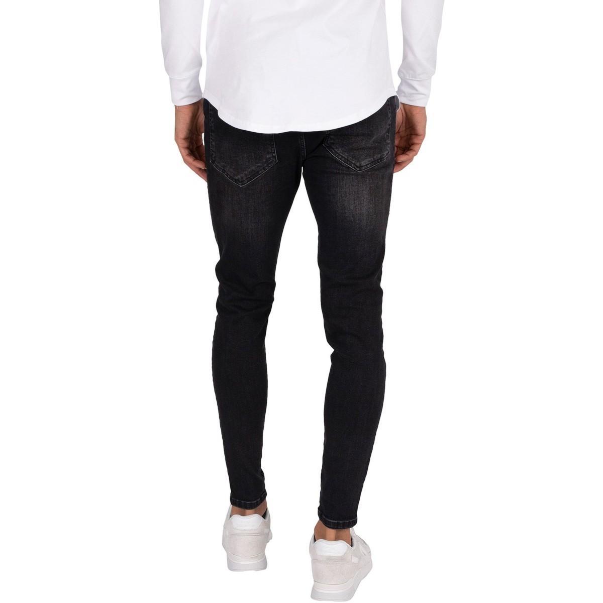 SIKSILK Denim Slim Fit Jeans Skinny Distressed Jeans mit Gummizug in Schwarz für Herren K9XQk