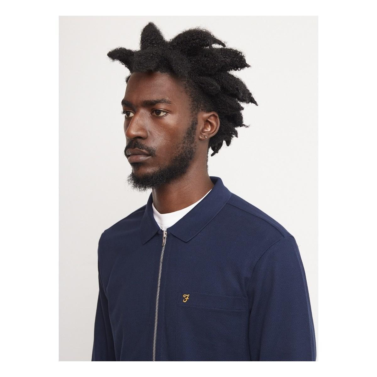 Farah Sundew Zip Overshirt Navy Men's Jacket In Blue for Men