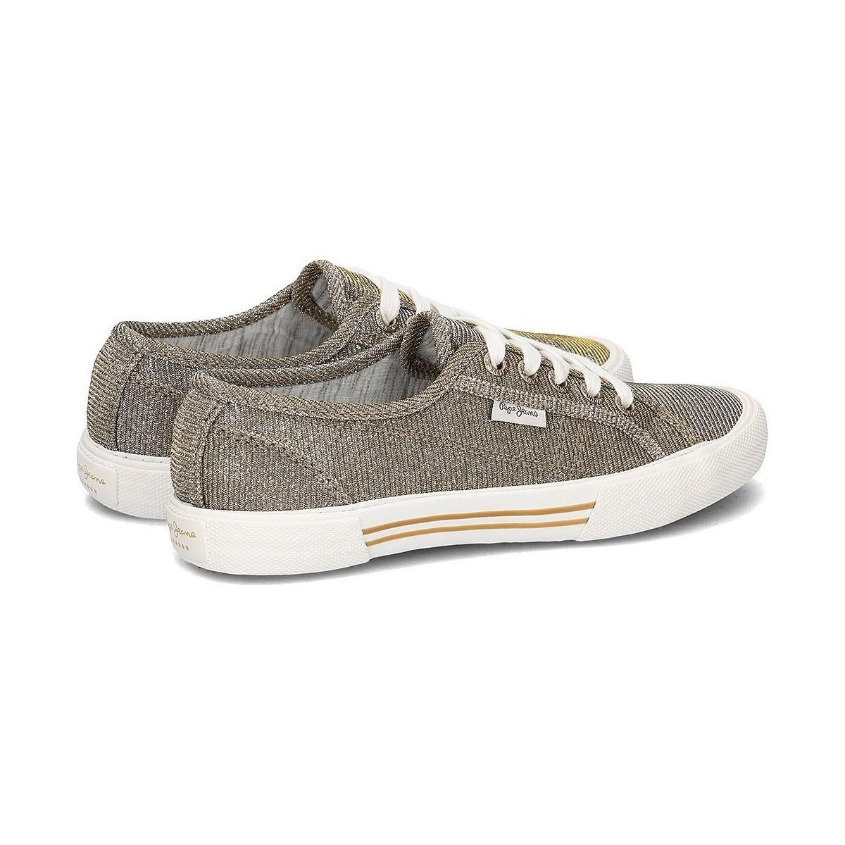 Pepe Jeans Denim Aberlady Nuit Women's Shoes (trainers) In Gold in Metallic