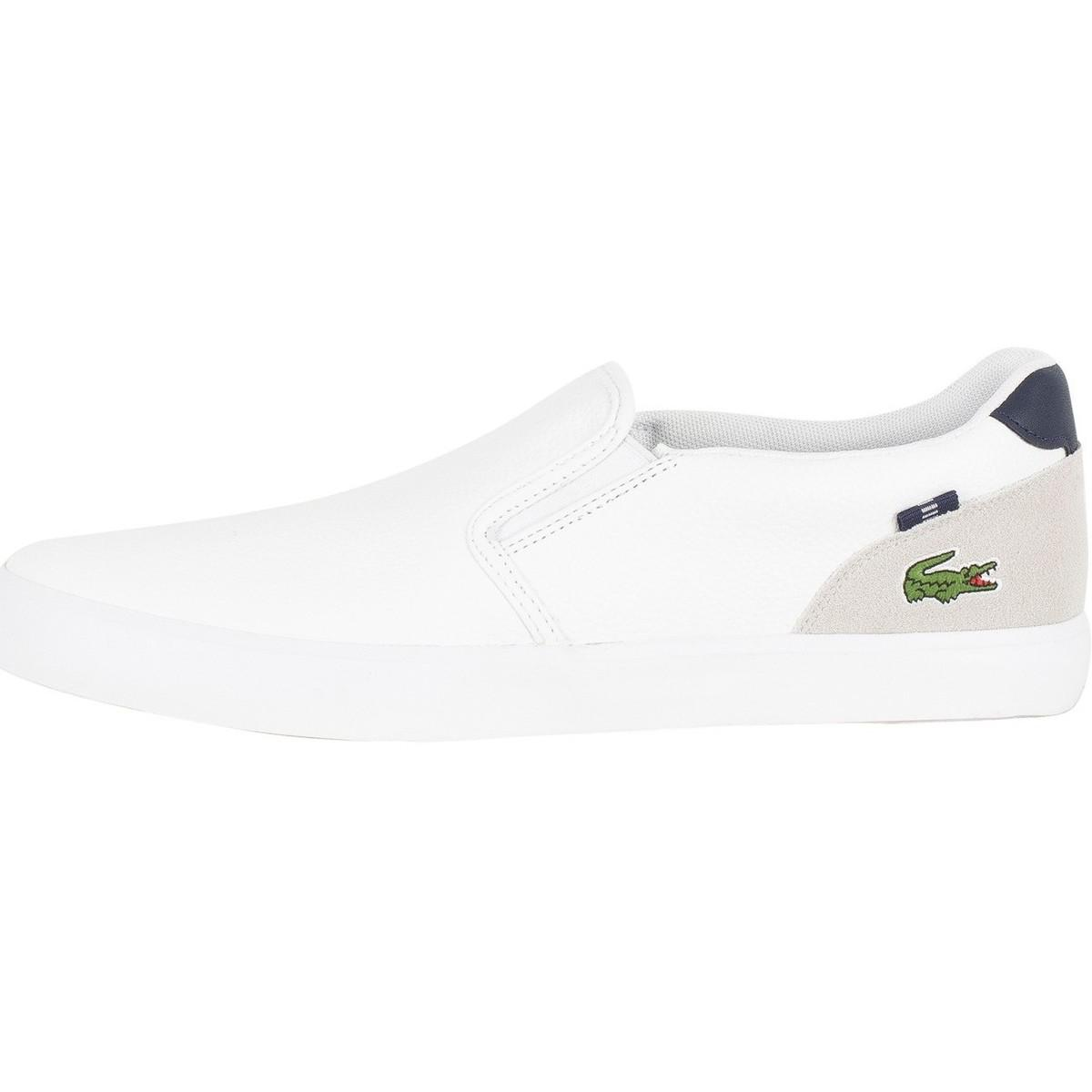 Lacoste Men Shoes Jouer Slip 318 2 White Leather Casual Sneakers Shoes NEW