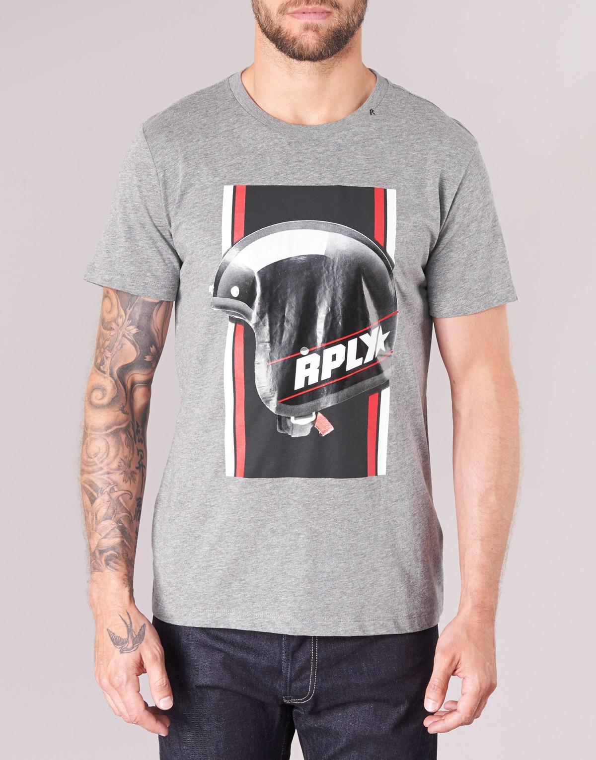 88c90276a YAYIOTE hommes T-shirt en Gris
