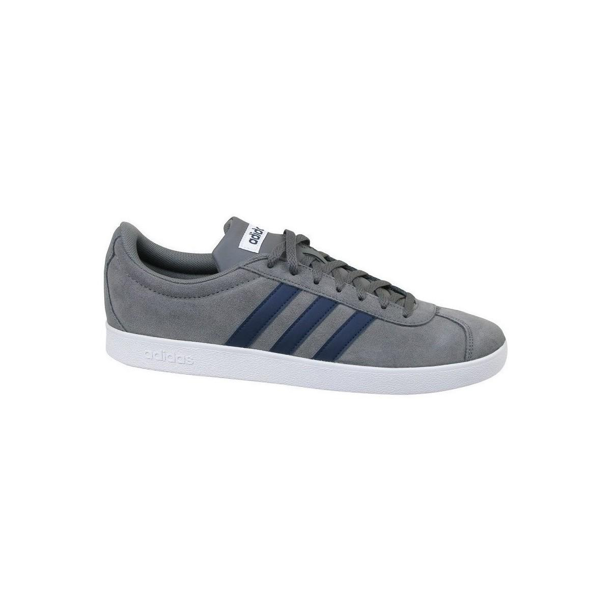 adidas Leather Vl Court 2.0 Skateboarding Shoes in Grey (Grey) for Men