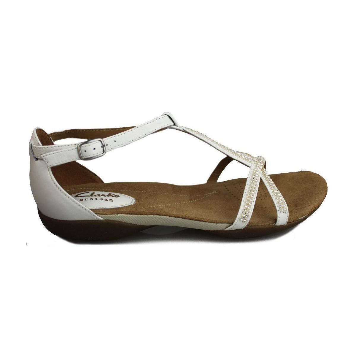 0a81e2512 Clarks Raffi Star Women s Sandals In White in White - Lyst