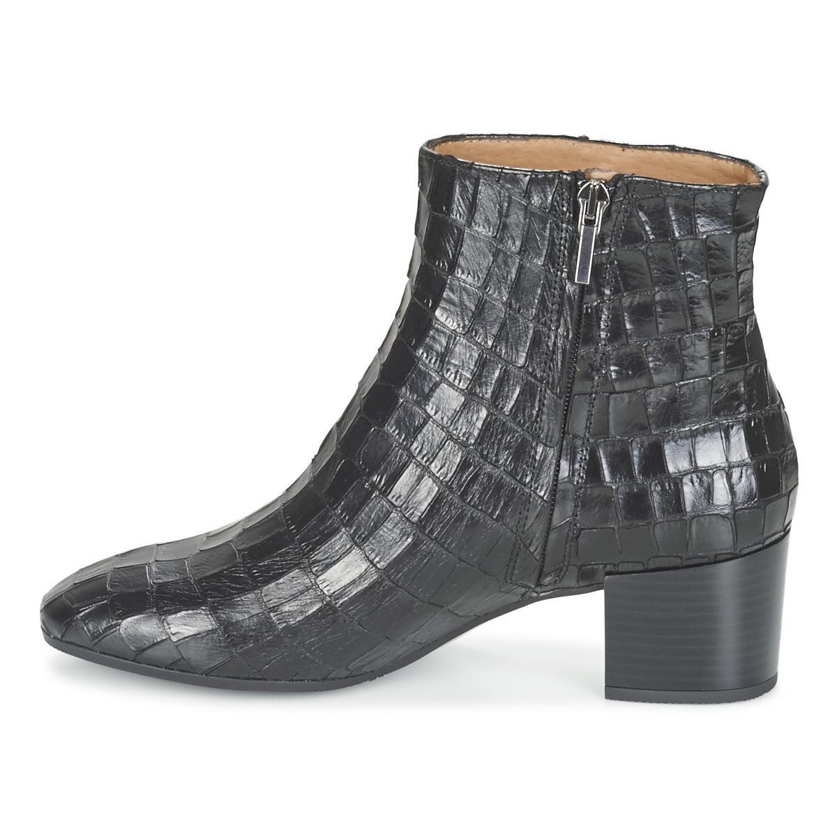 Fericelli Leather Fabiane Women's Low Ankle Boots In Black