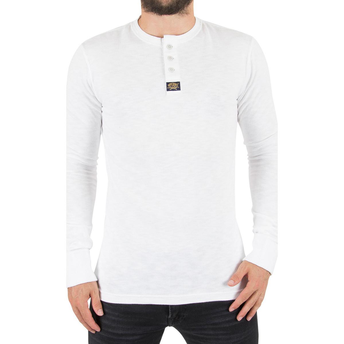 7eb6740ab769 Superdry Men's Heritage Longsleeved Grandad T-shirt, White Men's ...