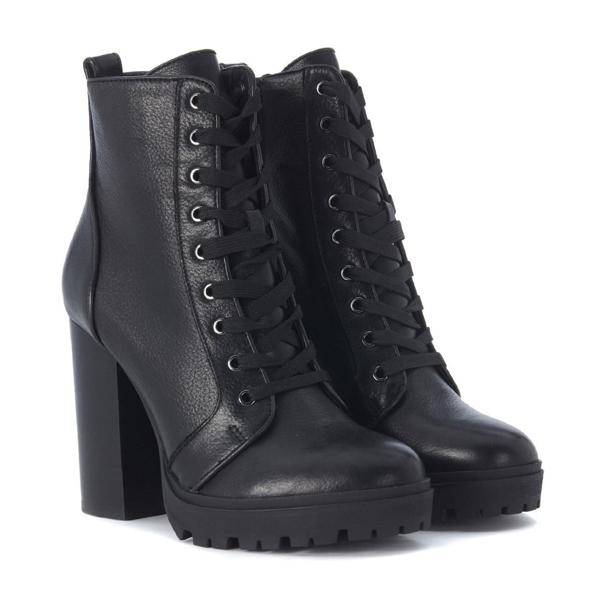 5cc13fe306c Steve Madden Laurie Black Leather Combat Boot Women's Low Ankle ...