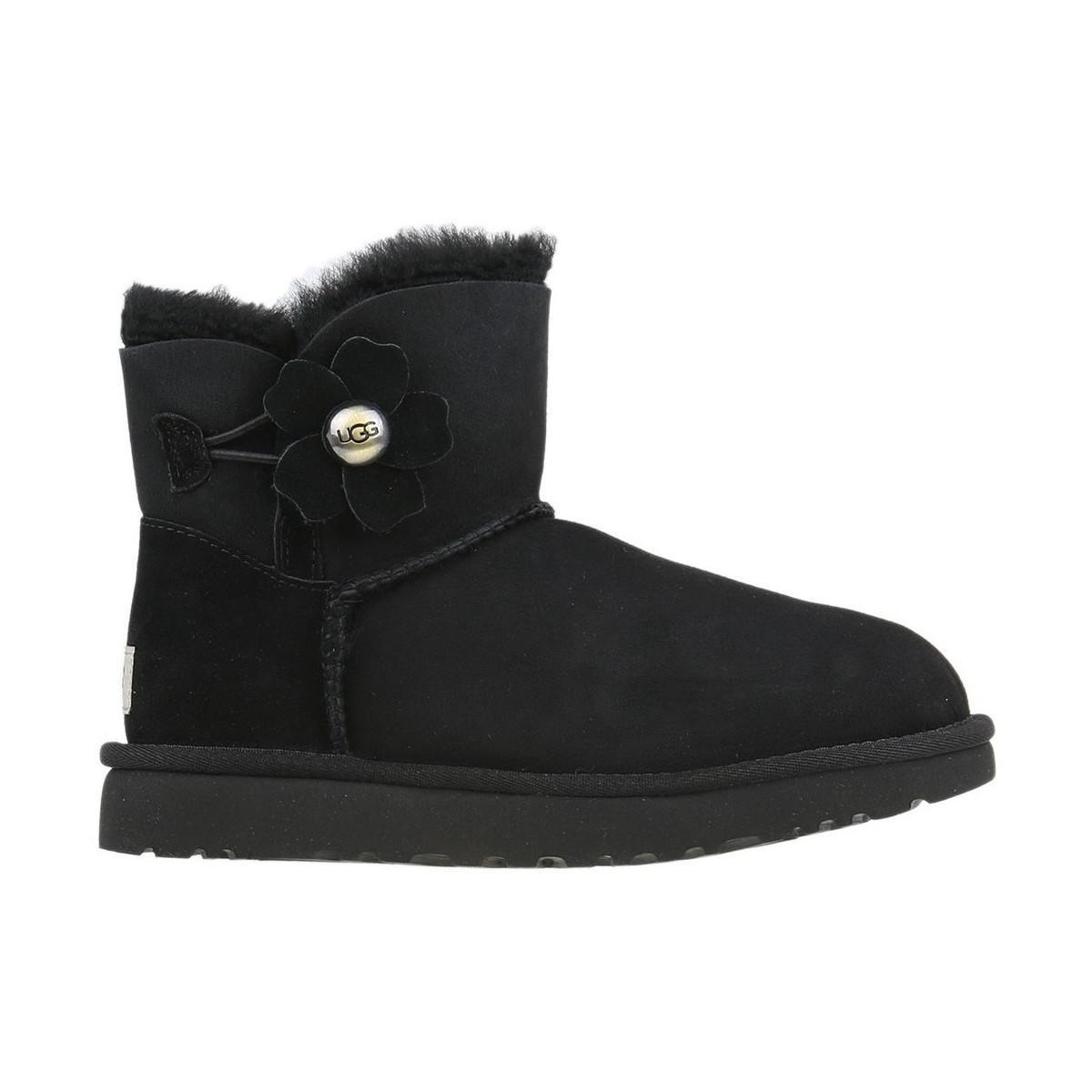 131a599e643 UGG Mini Bailey Button Poppy Women's Snow Boots In Black in Black - Lyst
