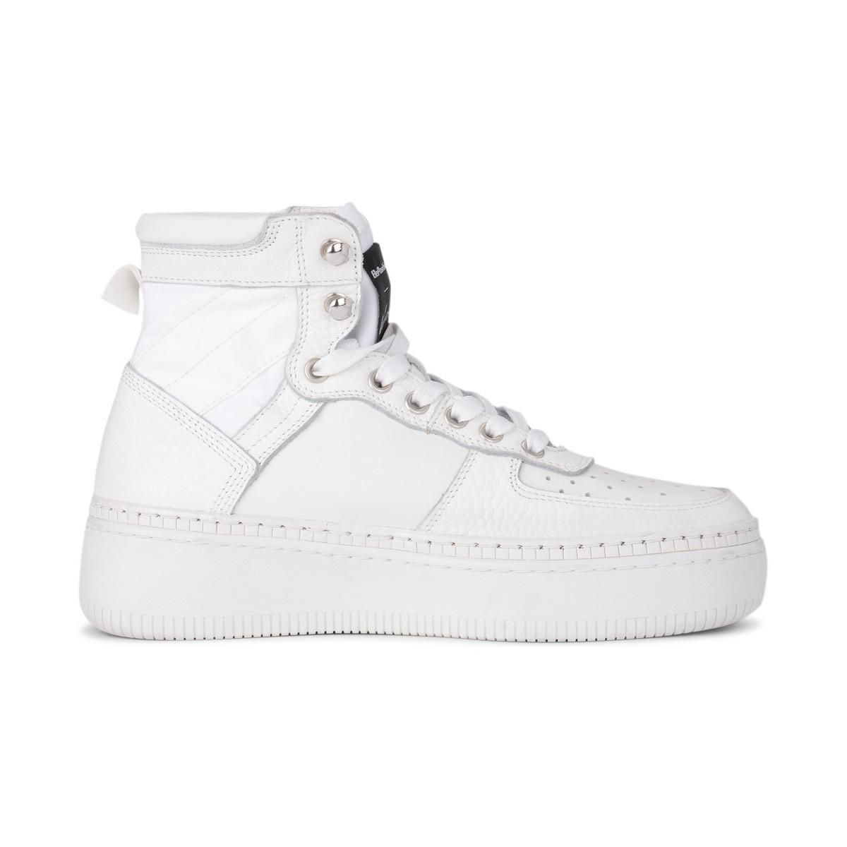 Be Positive Bepositive Track01 White Leather And Canvas High Sneaker Women's Shoes (high-top Trainers) In White