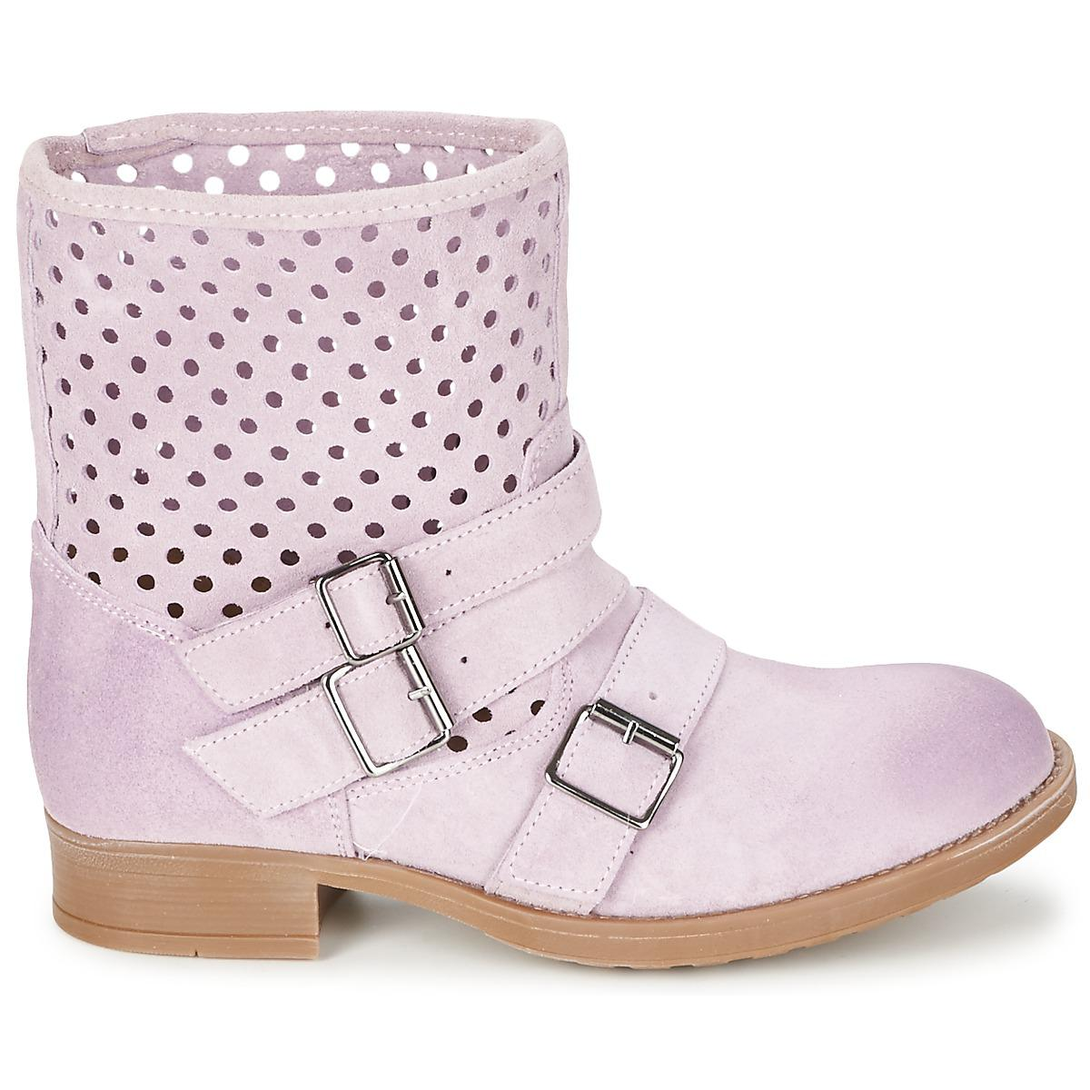 Casual Attitude Leather Disnelle Women's Mid Boots In Pink