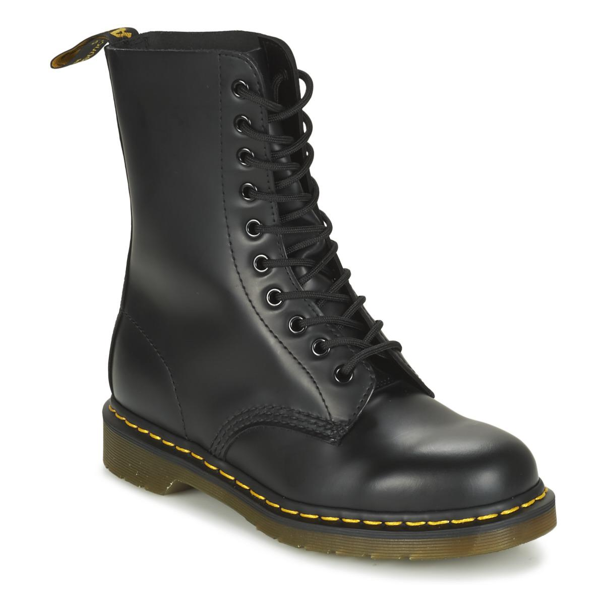 Dr. Martens Leather 1490 Mid Boots in Black