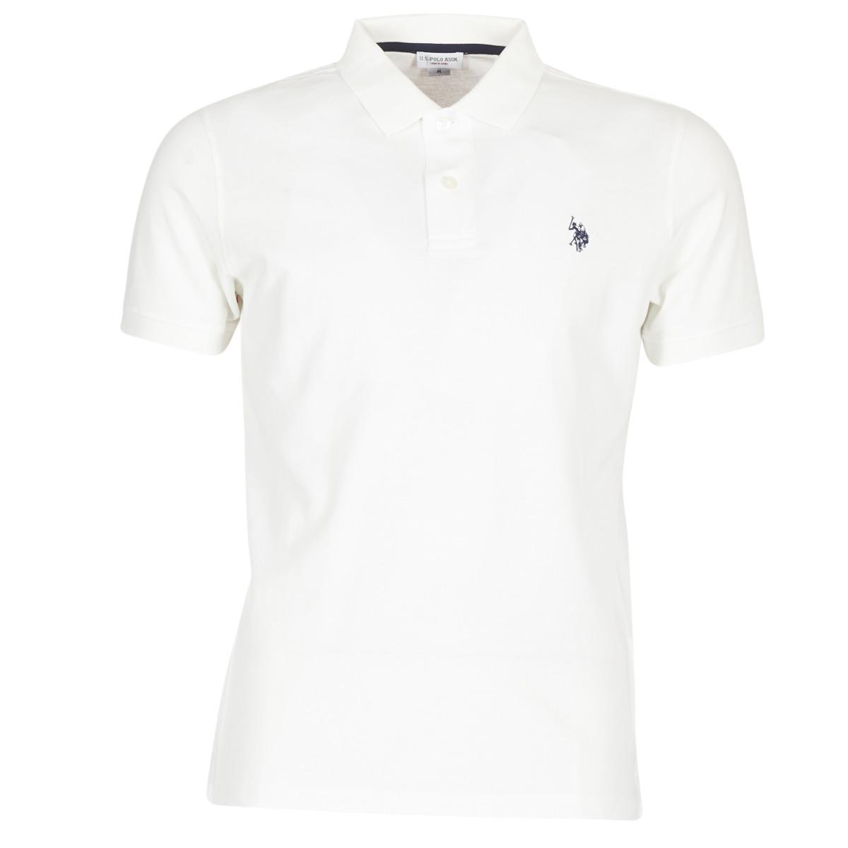 11235a24 U.S. POLO ASSN. Institutional Polo Men's Polo Shirt In White in ...