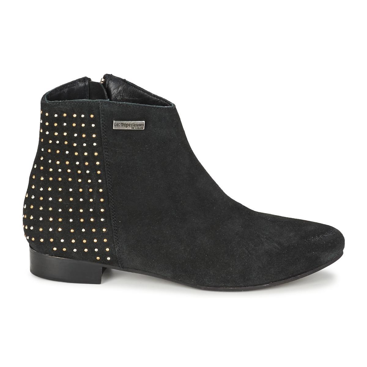 Les Tropéziennes Par M Belarbi Leather Leana Women's Mid Boots In Black