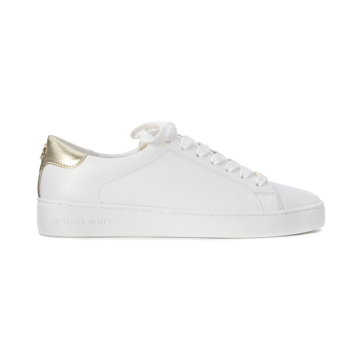 6f3a7e5d3cc3 Michael Kors Irving Lace Up Sneaker In White And Gold Leather ...