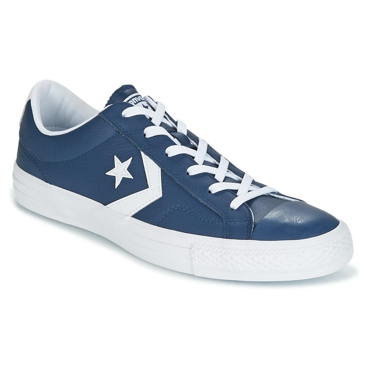 73f6c2e82df1f5 Converse - Star Player Ox Leather Essentials Men s Shoes (trainers) In Blue  for Men. View fullscreen