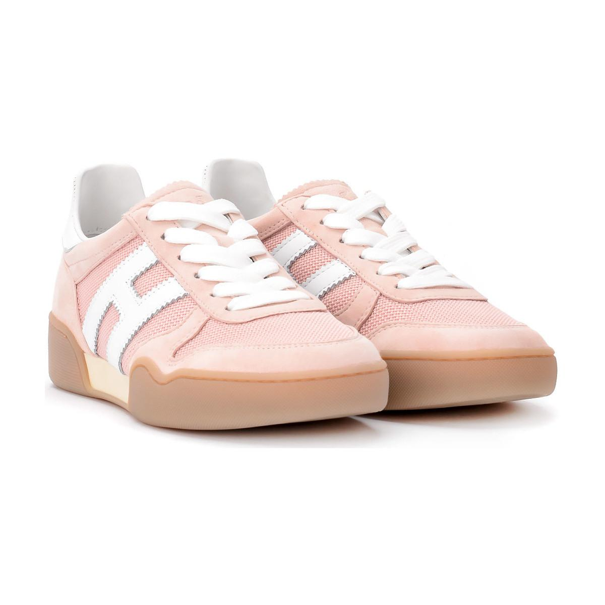 7eea5b963d Hogan Sneaker H357 In Suede E Tessuto Rosa Women's Shoes (trainers ...