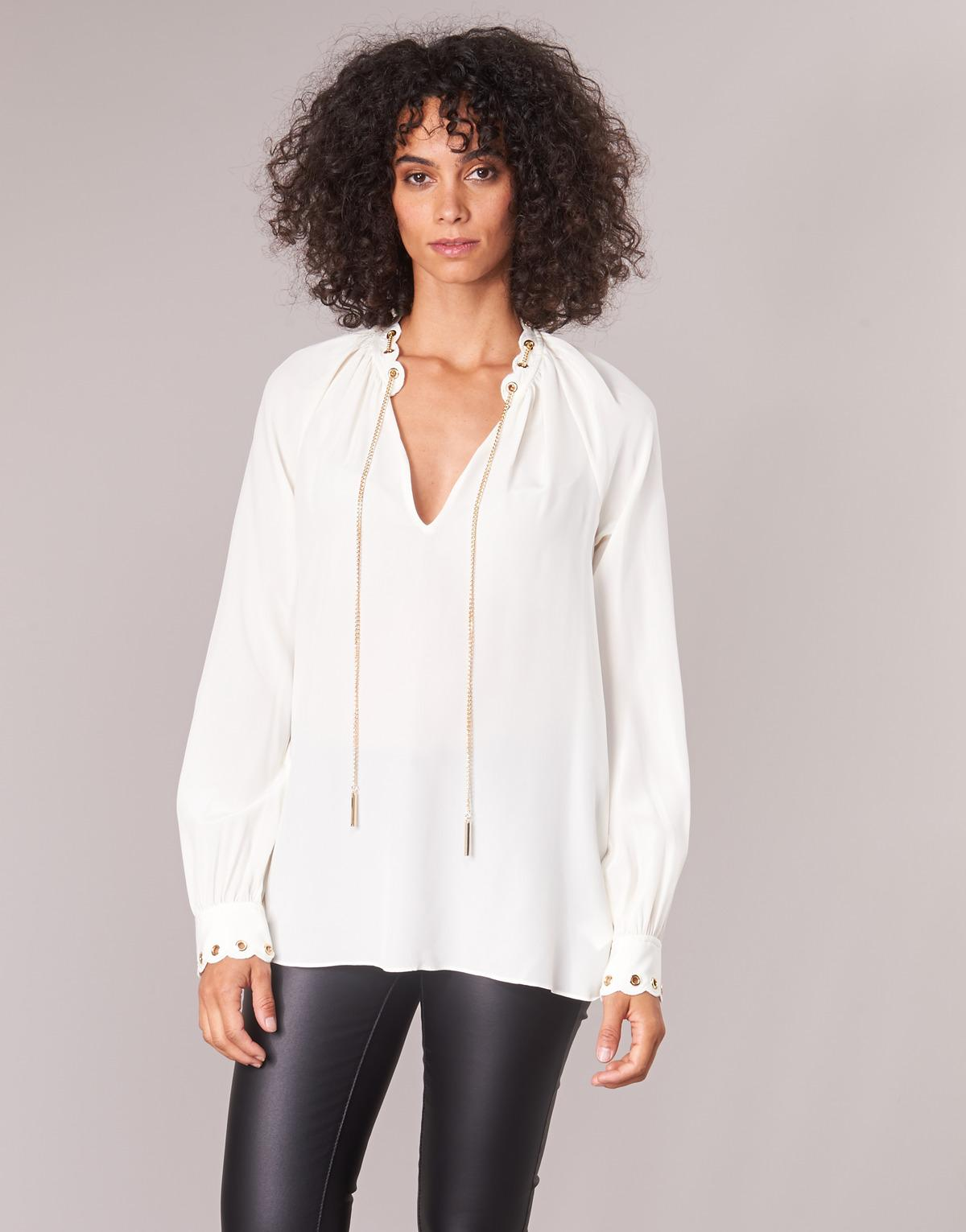 8ee776d5125ea MICHAEL Michael Kors Scallp Grmt Chain Top Women s Blouse In White in White  - Lyst