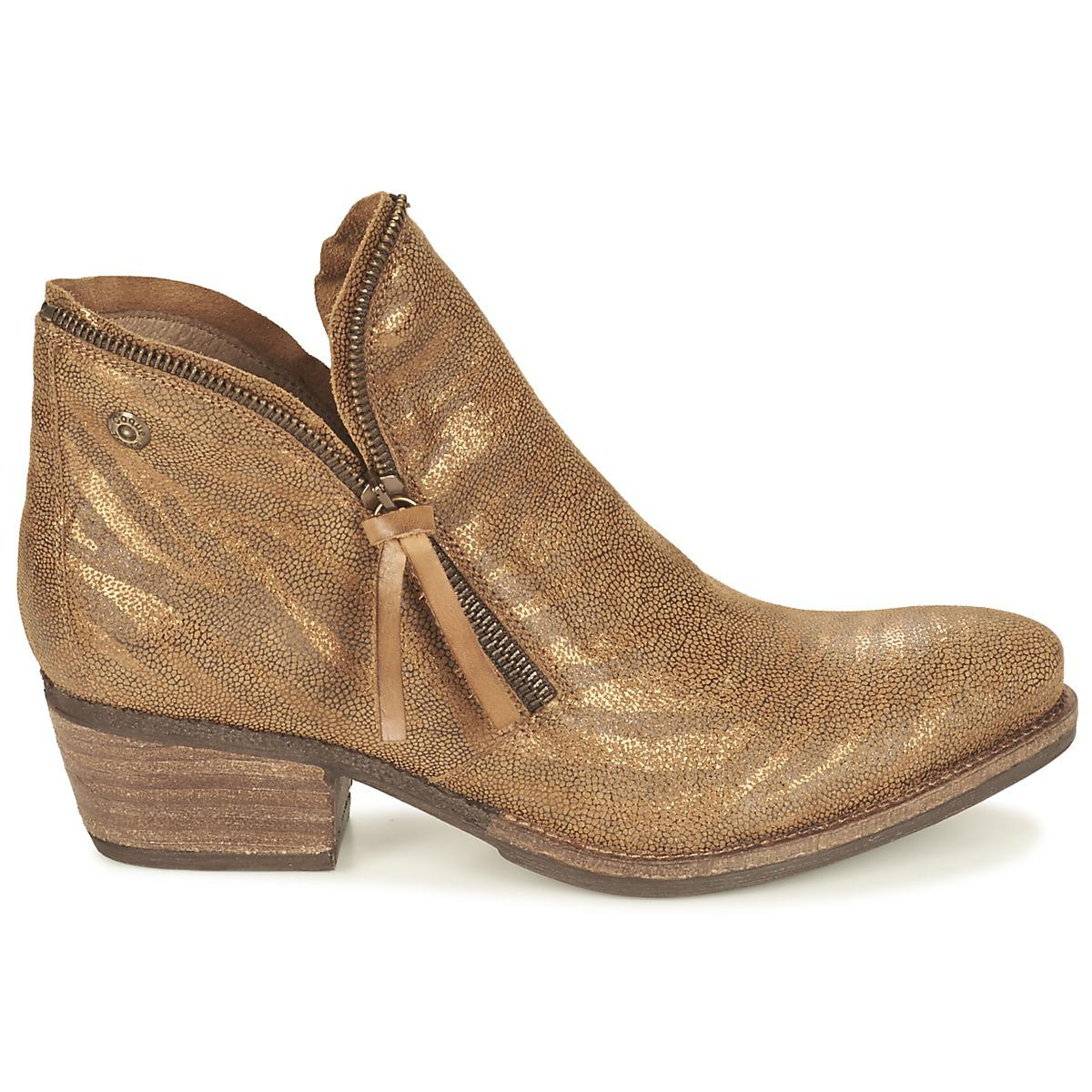 Coqueterra Leather Lizzy Women's Mid Boots In Gold in Metallic