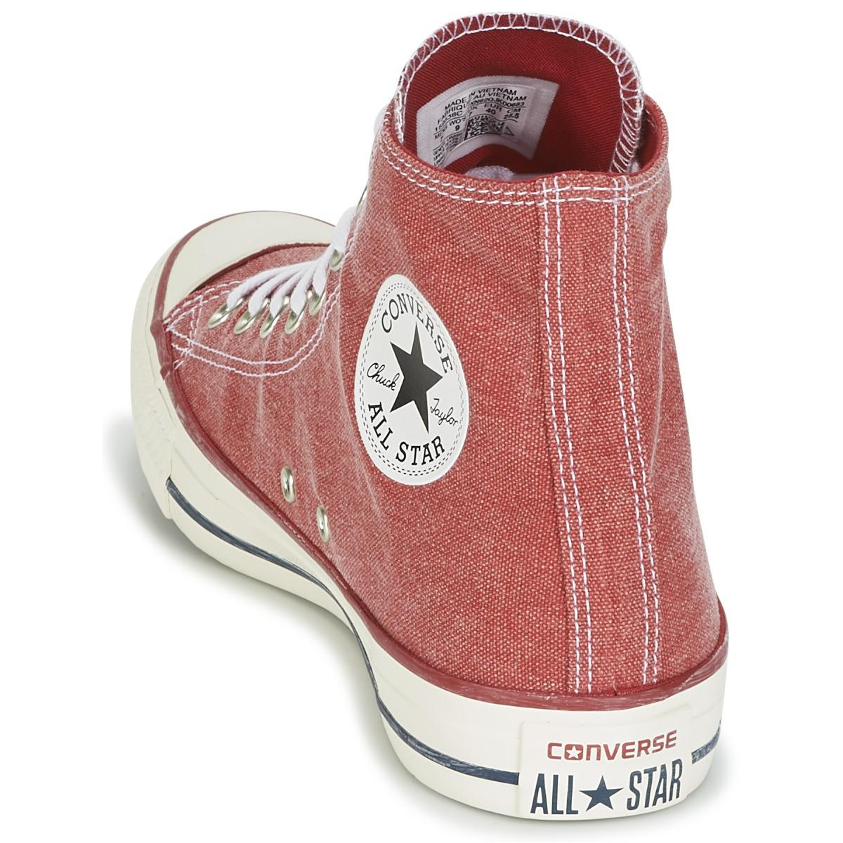 Converse Chuck Taylor All Star Hi Stone Wash Women's Shoes (high-top Trainers) In Red