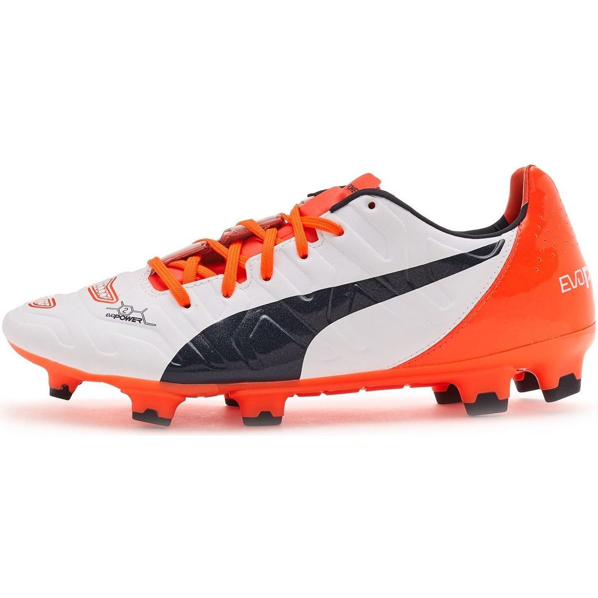 Latest Puma Evopower 1.2 Football Boots Soccer Cleats In White & Orange 103 White Sports Shoes for Men On Sale