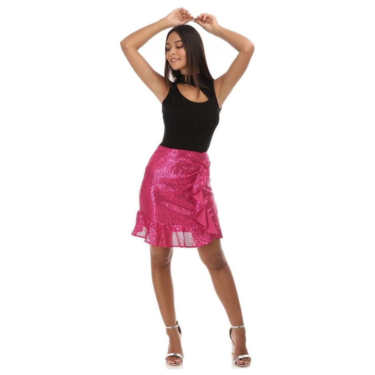 Jupe à sequins fuchsia avec volants Jupes La Modeuse en coloris Rose