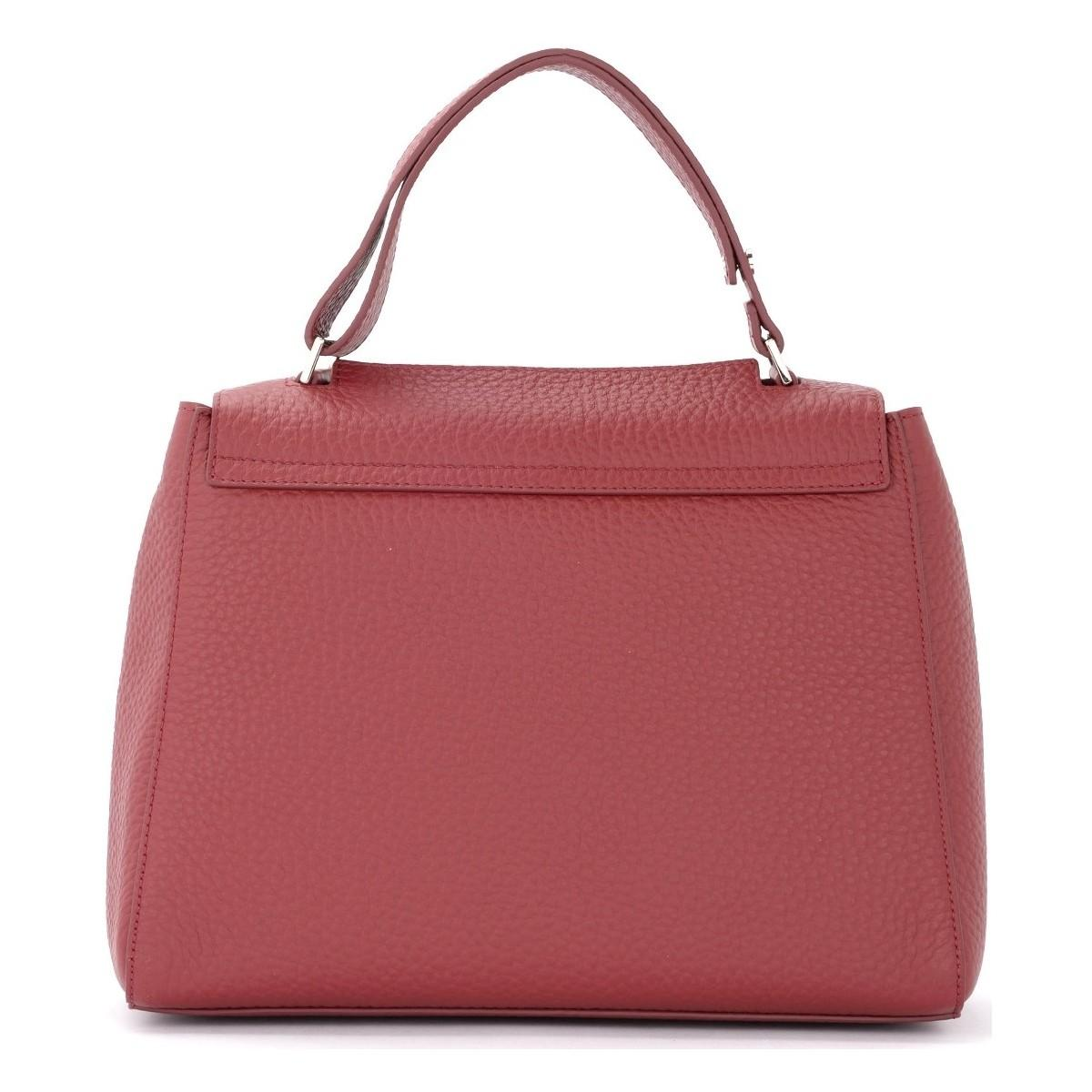 Orciani Handtasche Handtasche Sveva Medium aus genarbtem Bordeauxfarbenem Leder in Rot 8I8KA