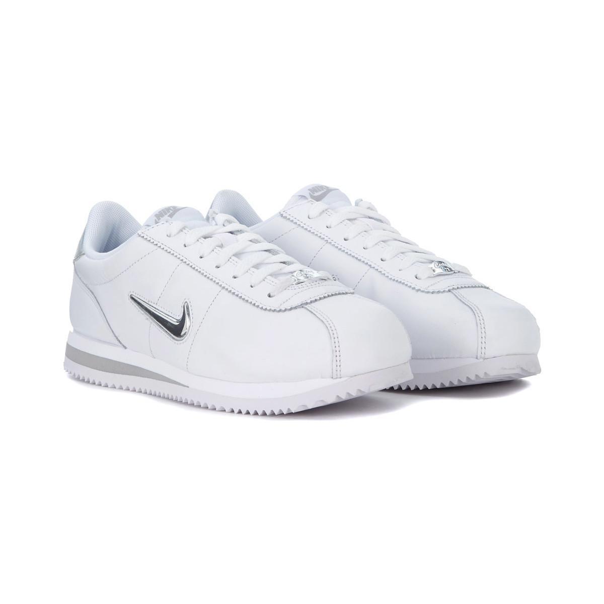 Nike Sneaker Cortez Basic Jewel In Pelle Bianca E Argento Men's Trainers In White for Men