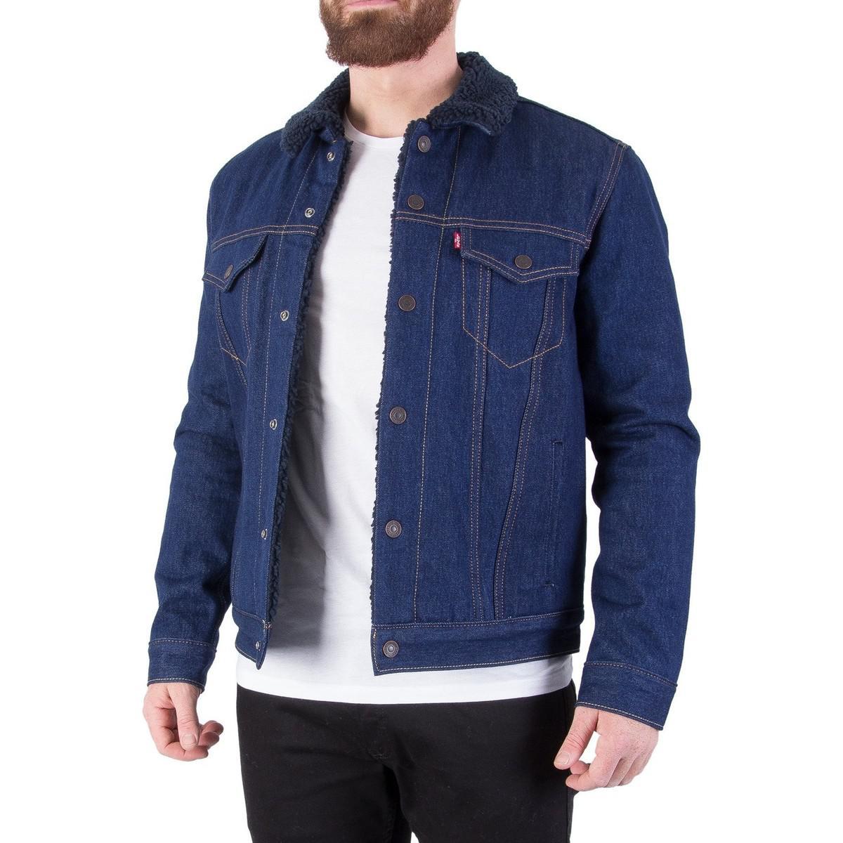 Levi's Levis Men's Sherpa Trucker Jacket, Blue Men's Jacket In Blue for Men