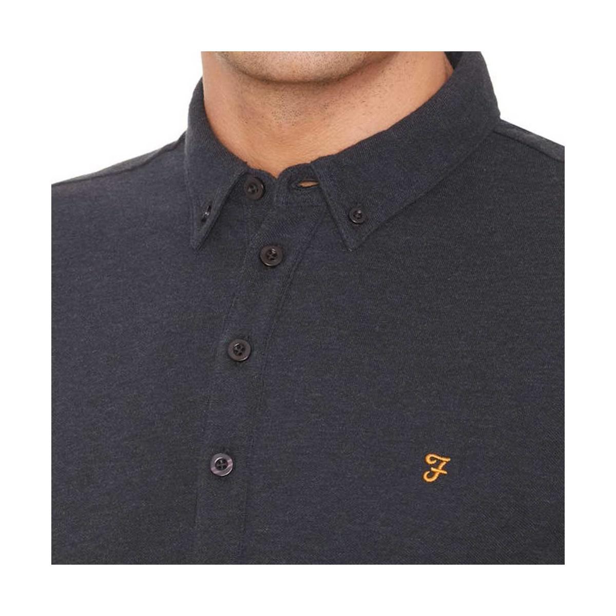 Farah Men's Merriweather Long Sleeved Polo Shirt Men's Polo Shirt In Multicolour in Blue for Men