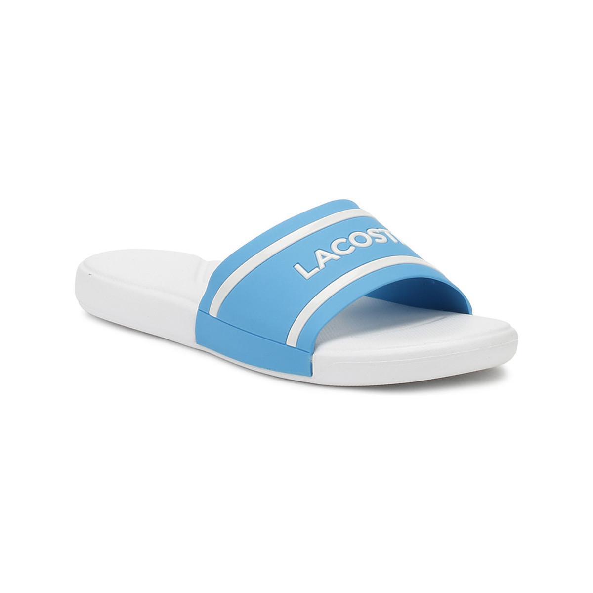 38bbaeb5c76 Lacoste Junior Blue   White L.30 118 2 Slides Girls s In Blue in ...
