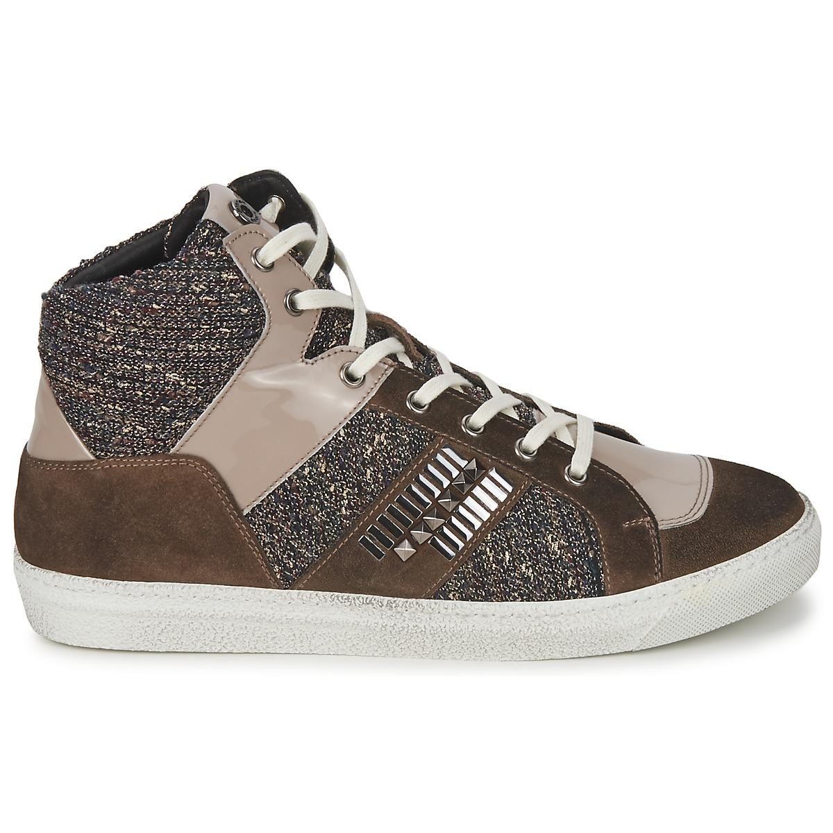 Janet & Janet Leather Ericmartin Women's Shoes (high-top Trainers) In Brown