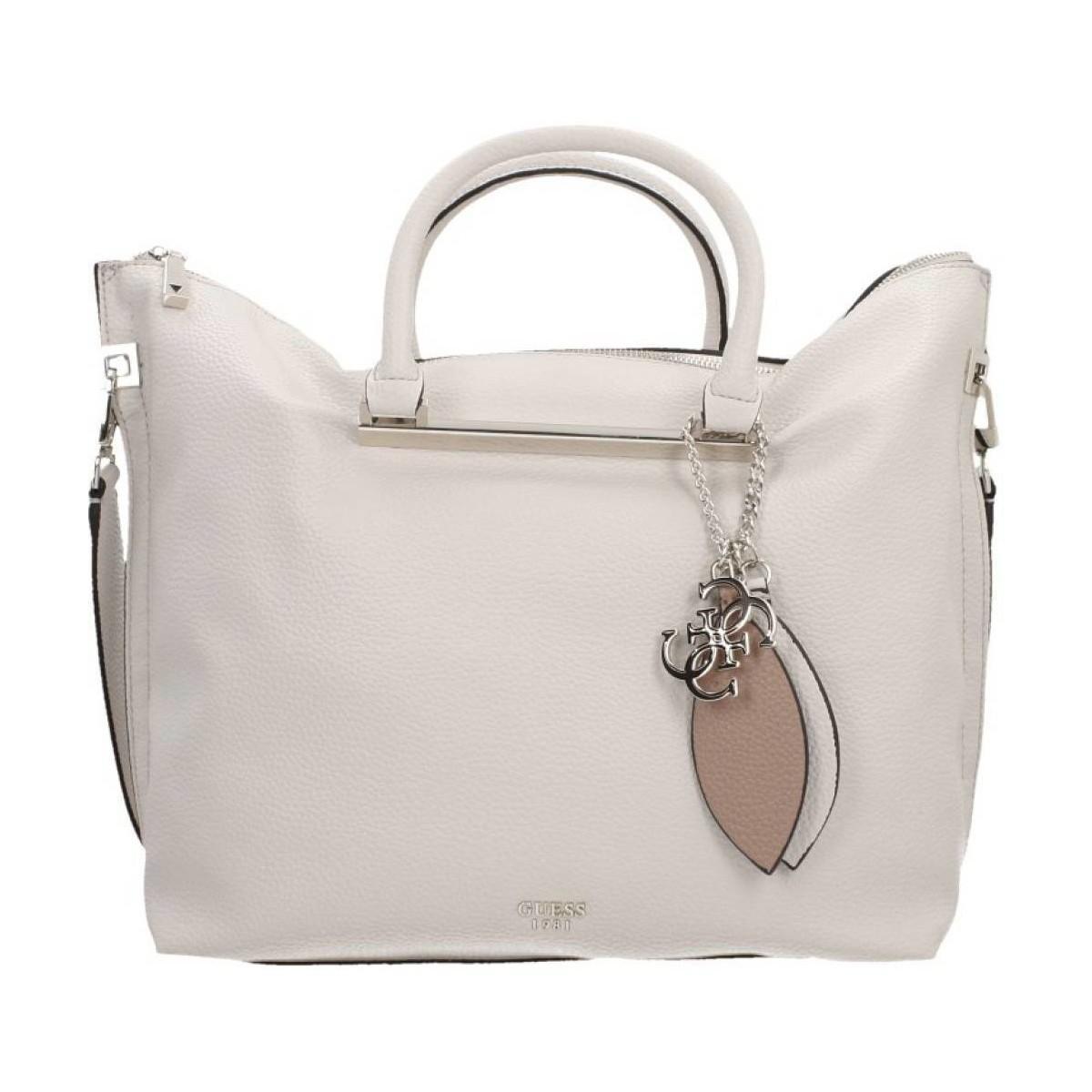 462ec0aa169b Guess Lou Lou Large Satchel Women s Bag In Beige in Natural - Lyst