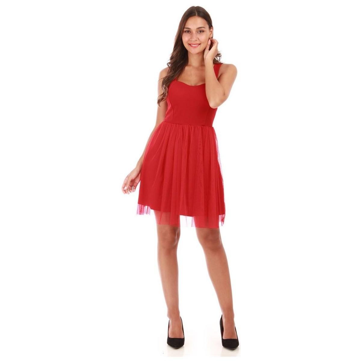 Robe rouge courte Tulle La Modeuse en coloris Rouge