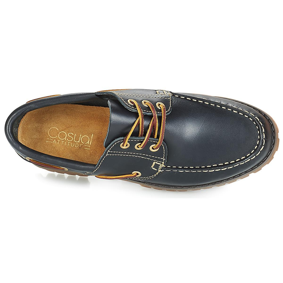 Casual Attitude Leather Everoa Boat Shoes in Blue for Men